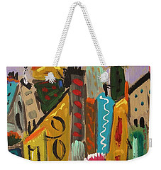 Weekender Tote Bag featuring the painting Forsythia Sky by Mary Carol Williams
