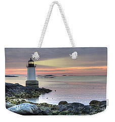 Fort Pickering Lighthouse At Sunrise Weekender Tote Bag by Juli Scalzi