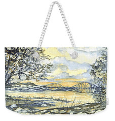Weekender Tote Bag featuring the painting Forth Rail Bridge Edinburgh In Scotland by Carol Wisniewski