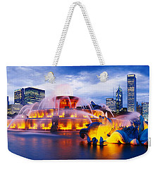 Fountain Lit Up At Dusk, Buckingham Weekender Tote Bag by Panoramic Images