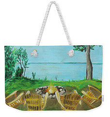 Weekender Tote Bag featuring the painting Four Chairs by Jeanne Fischer