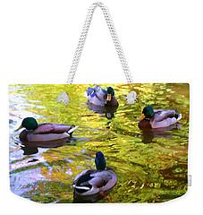 Four Ducks On Pond Weekender Tote Bag