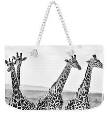 Four Giraffes Weekender Tote Bag by Adam Romanowicz