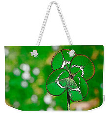 Weekender Tote Bag featuring the digital art Four Leaf Clover by Ludwig Keck