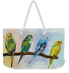 Four Parakeets Weekender Tote Bag by Michael Creese