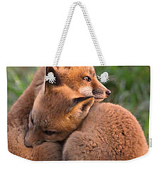 Fox Cubs Cuddle Weekender Tote Bag