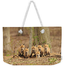 Fox Family Portrait Weekender Tote Bag by Everet Regal