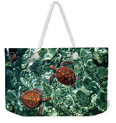 Fragile Underwater World. Sea Turtles In A Crystal Water. Maldives Weekender Tote Bag