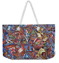 Weekender Tote Bag featuring the painting Fragmented Rose by James W Johnson