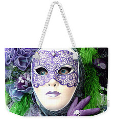 Weekender Tote Bag featuring the photograph Francine's Purple Glove by Donna Corless
