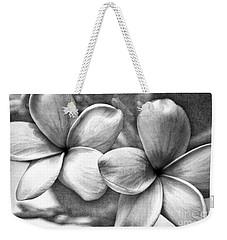 Frangipani In Black And White Weekender Tote Bag by Peggy Hughes