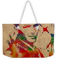 Frank Sinatra Watercolor Portrait On Worn Distressed Canvas Weekender Tote Bag