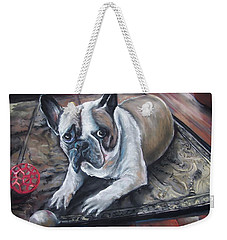 Weekender Tote Bag featuring the pastel french Bull dog by Peter Suhocke