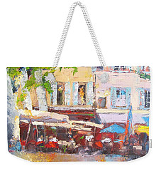 French Cafe Avignon Palette Knife Oil Painting Weekender Tote Bag
