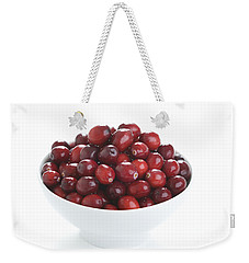 Weekender Tote Bag featuring the photograph Fresh Cranberries In A White Bowl by Lee Avison