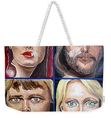 Weekender Tote Bag featuring the painting Frida Benny Bjorn Agnetha by Daniel Janda