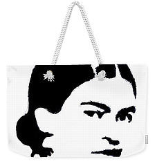 Weekender Tote Bag featuring the mixed media Frida Black And White by Michelle Dallocchio