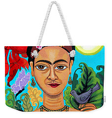 Frida Kahlo With Monkey And Bird Weekender Tote Bag by Genevieve Esson