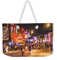 Friday Night On Beale Weekender Tote Bag by Liz Leyden