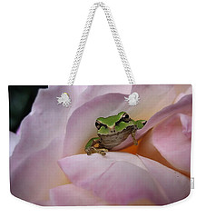 Weekender Tote Bag featuring the photograph Frog And Rose Photo 1 by Cheryl Hoyle