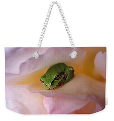 Weekender Tote Bag featuring the photograph Frog And Rose Photo 2 by Cheryl Hoyle