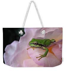 Weekender Tote Bag featuring the photograph Frog And Rose Photo 3 by Cheryl Hoyle