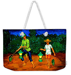 Weekender Tote Bag featuring the painting Frog Hunters by Cyril Maza