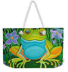 Frog On A Lily Pad Weekender Tote Bag by Nick Gustafson
