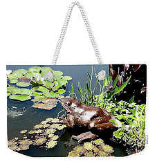 Frog On The Pond Weekender Tote Bag by Ellen Tully