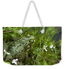 Frog On Water's Edge Weekender Tote Bag by Christina Rollo