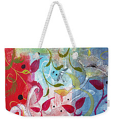 Weekender Tote Bag featuring the painting Frolic by Robin Maria Pedrero