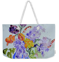 Weekender Tote Bag featuring the painting From Grammy's Garden by Beverley Harper Tinsley