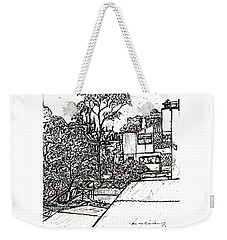 Weekender Tote Bag featuring the drawing From My Window by Leanne Seymour