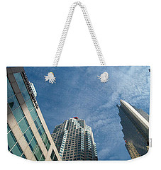 Front Stree Down Town Toronto Sky View Through The Hotels Skyscraper Condo  Housing Buildings Water  Weekender Tote Bag