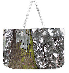 Weekender Tote Bag featuring the photograph Frost On The Leaves by Felicia Tica