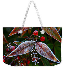 Frosted Nandina Leaves Weekender Tote Bag