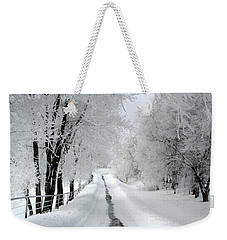 The Long Frosted Road Weekender Tote Bag