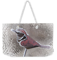 Frosty Cardinal Weekender Tote Bag by Patti Deters