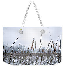 Frosty Cattails Weekender Tote Bag