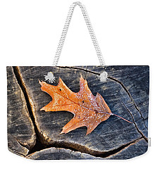 Frosty Leaf On Tree Trunk Weekender Tote Bag by Gary Slawsky