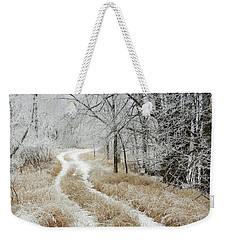 Weekender Tote Bag featuring the photograph Frosty Trail 2 by Penny Meyers