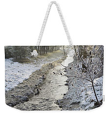 Weekender Tote Bag featuring the painting Frozen Air by Felicia Tica