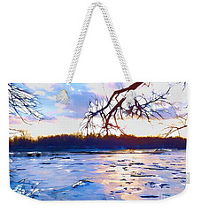 Frozen Delaware River Sunset Weekender Tote Bag by Robyn King