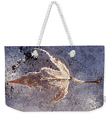 Weekender Tote Bag featuring the photograph Frozen Leaf by Richard Bryce and Family