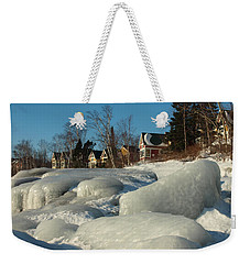 Weekender Tote Bag featuring the photograph Frozen Surf by James Peterson