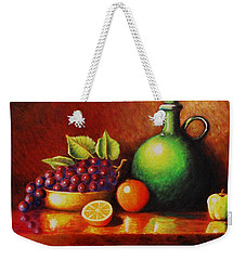 Weekender Tote Bag featuring the painting Fruit And Jug by Gene Gregory