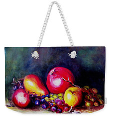 Weekender Tote Bag featuring the painting Fruitfulness by Hazel Holland