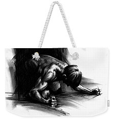 Weekender Tote Bag featuring the drawing Frustration by Paul Davenport