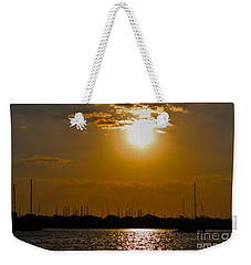 Weekender Tote Bag featuring the photograph Ft. Pierce Florida Docks At Dusk by Janice Rae Pariza