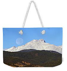 Full Moon Setting Over Snow Covered Twin Peaks  Weekender Tote Bag